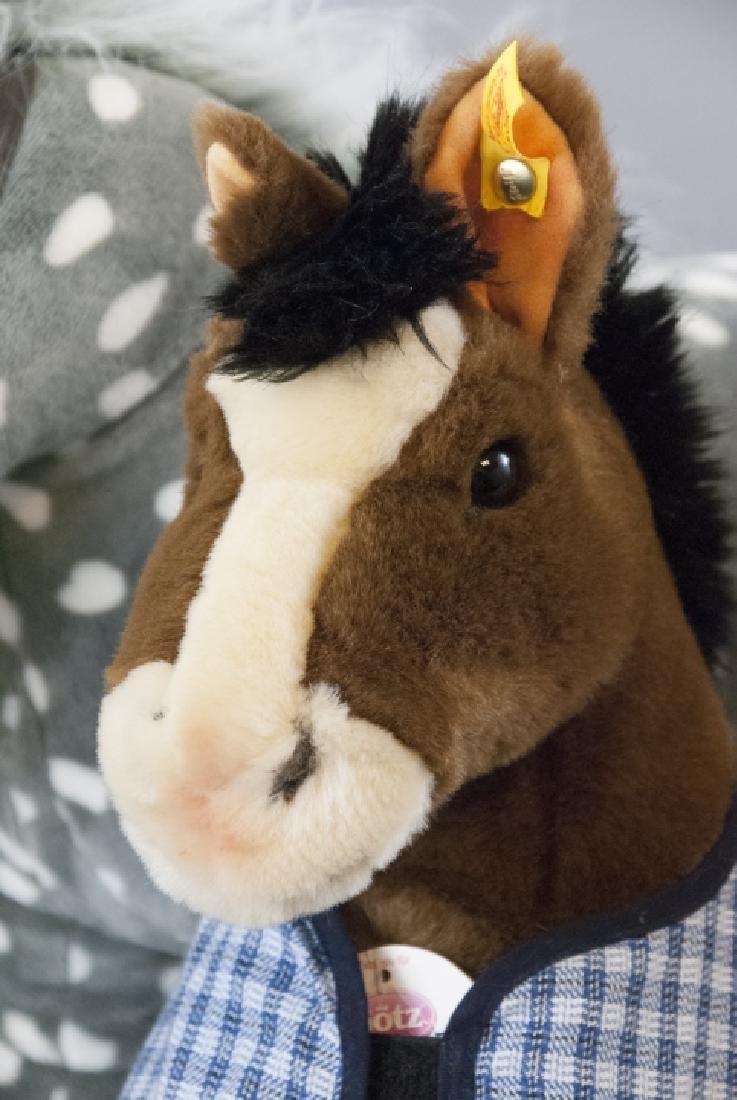 6 Plush Stuffed Toy Horses, Velvet Ponies, Steiff - 5