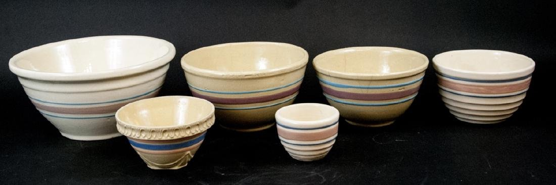 Vintage Yellow Ware Mixing Bowls Pink Blue Striped
