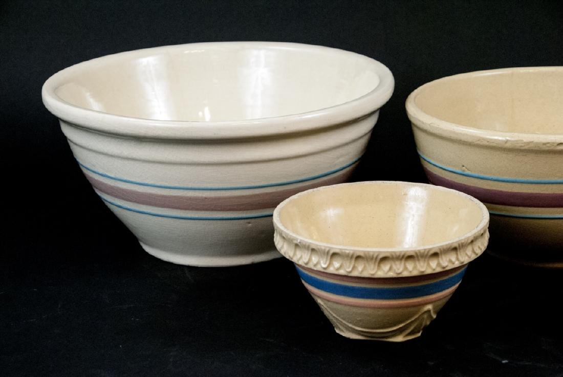 Vintage Yellow Ware Mixing Bowls Pink Blue Striped - 2