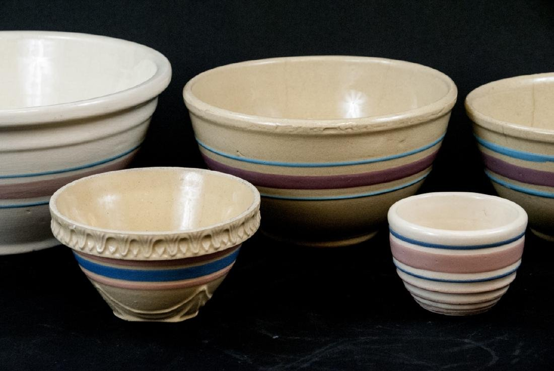 Vintage Yellow Ware Mixing Bowls Pink Blue Striped - 3