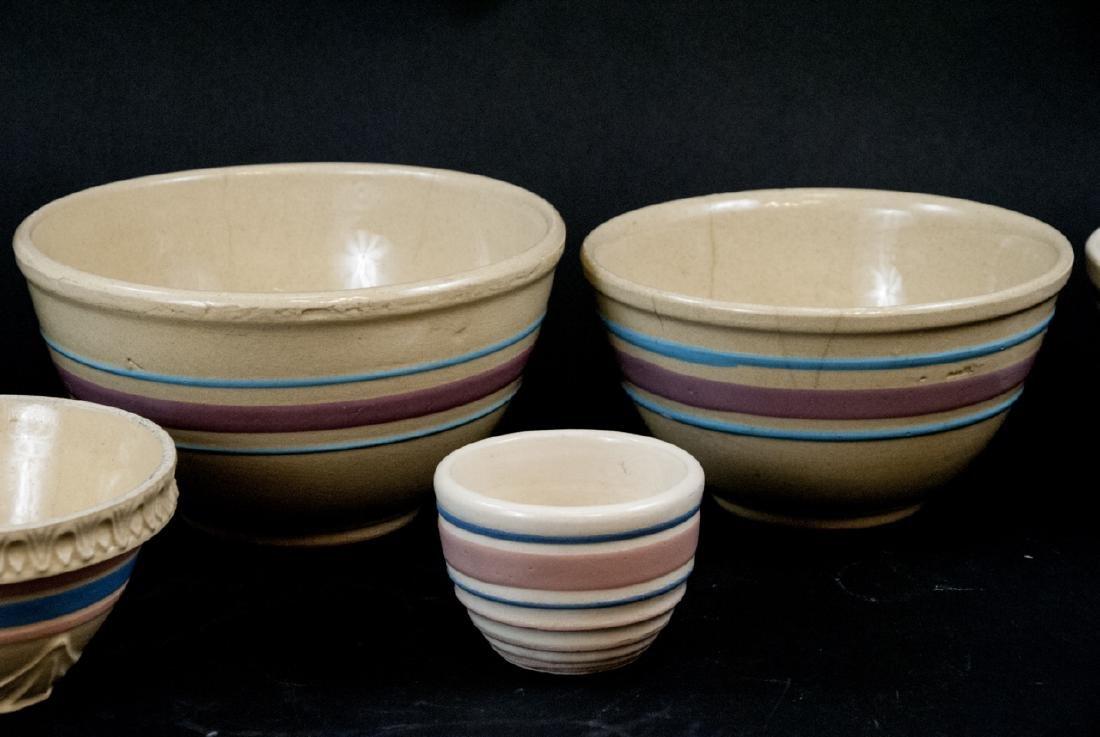 Vintage Yellow Ware Mixing Bowls Pink Blue Striped - 4