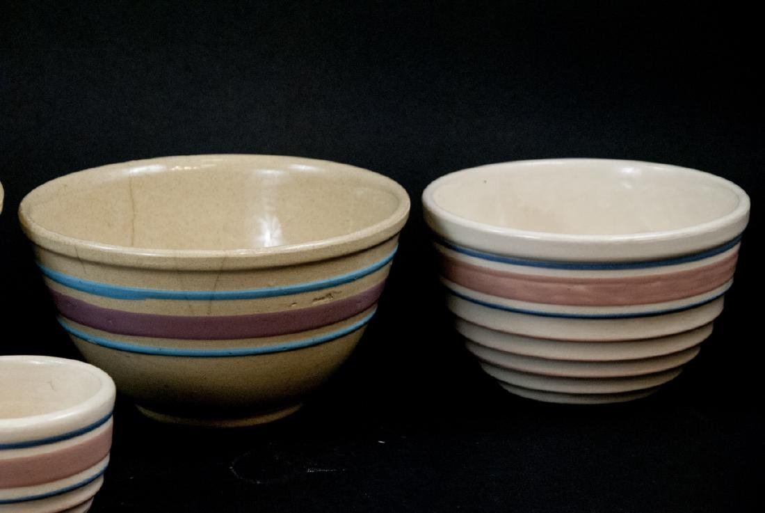 Vintage Yellow Ware Mixing Bowls Pink Blue Striped - 5