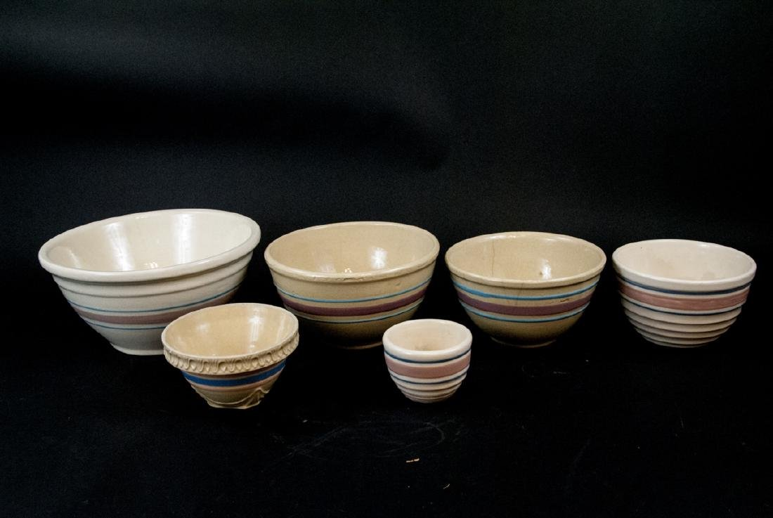 Vintage Yellow Ware Mixing Bowls Pink Blue Striped - 7