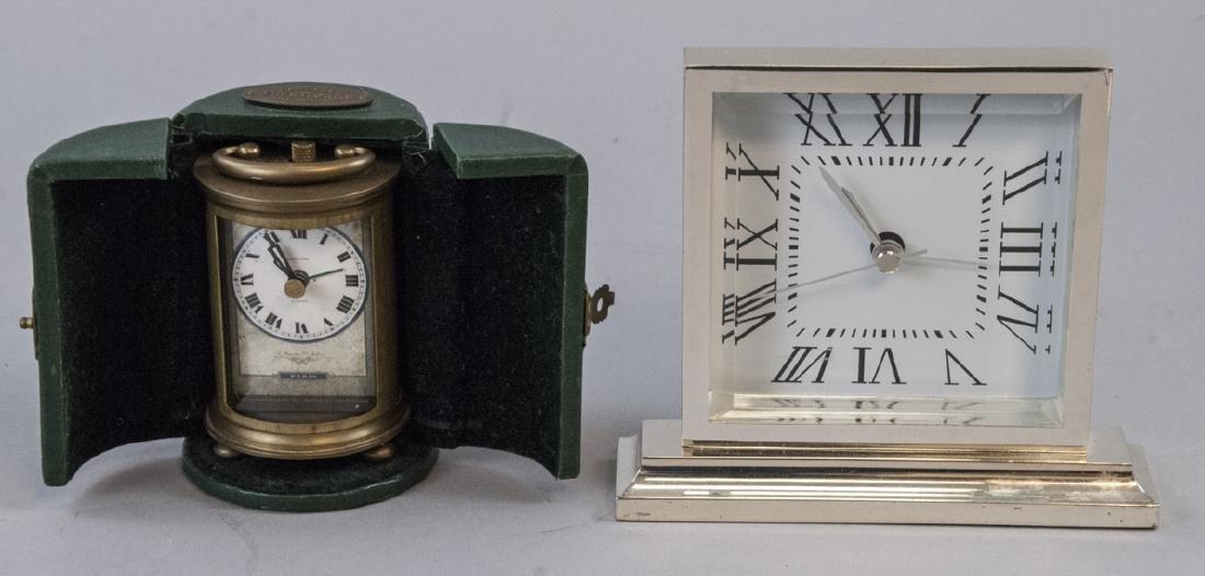 Brass Clock & Leather Case, Silver Tone Desk Clock