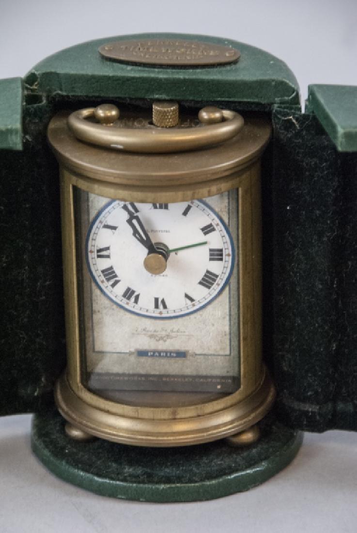 Brass Clock & Leather Case, Silver Tone Desk Clock - 4