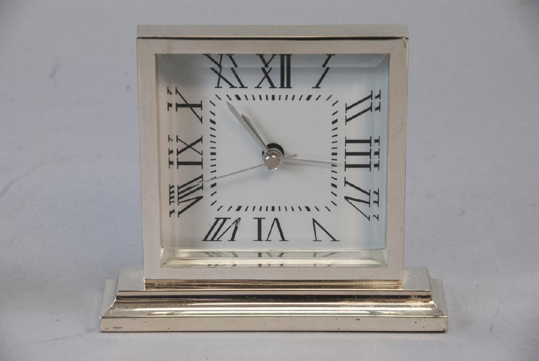 Brass Clock & Leather Case, Silver Tone Desk Clock - 5