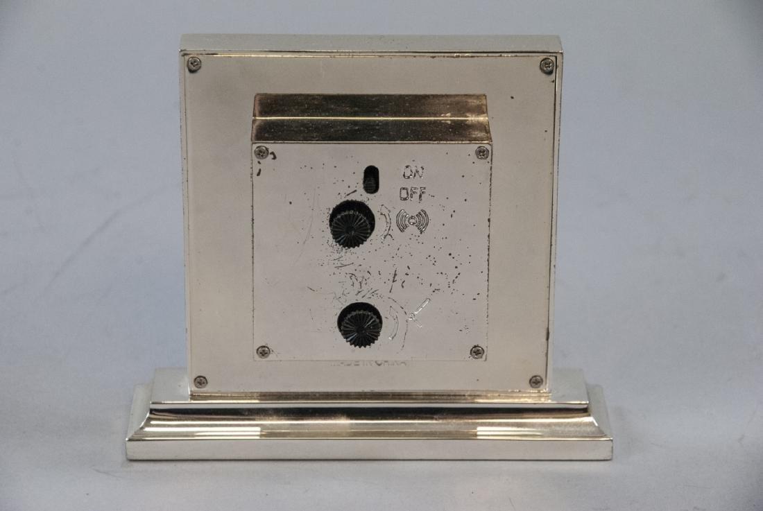 Brass Clock & Leather Case, Silver Tone Desk Clock - 6
