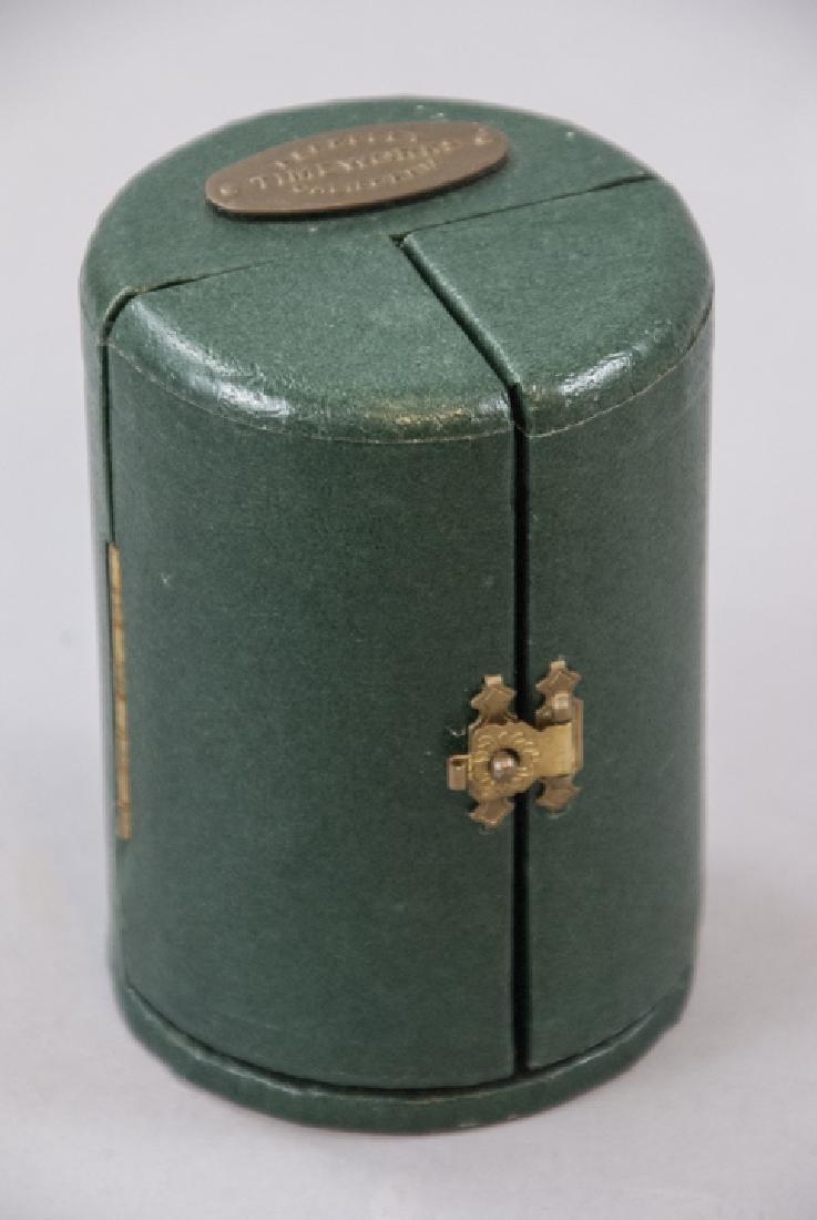 Brass Clock & Leather Case, Silver Tone Desk Clock - 7