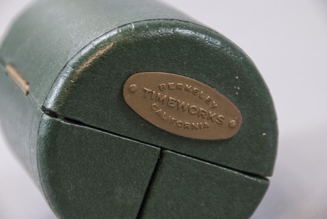Brass Clock & Leather Case, Silver Tone Desk Clock - 8
