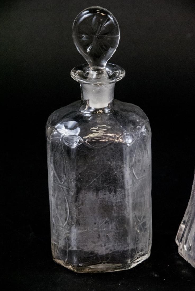 3 Antique Brilliant Period Glass Decanters - 3