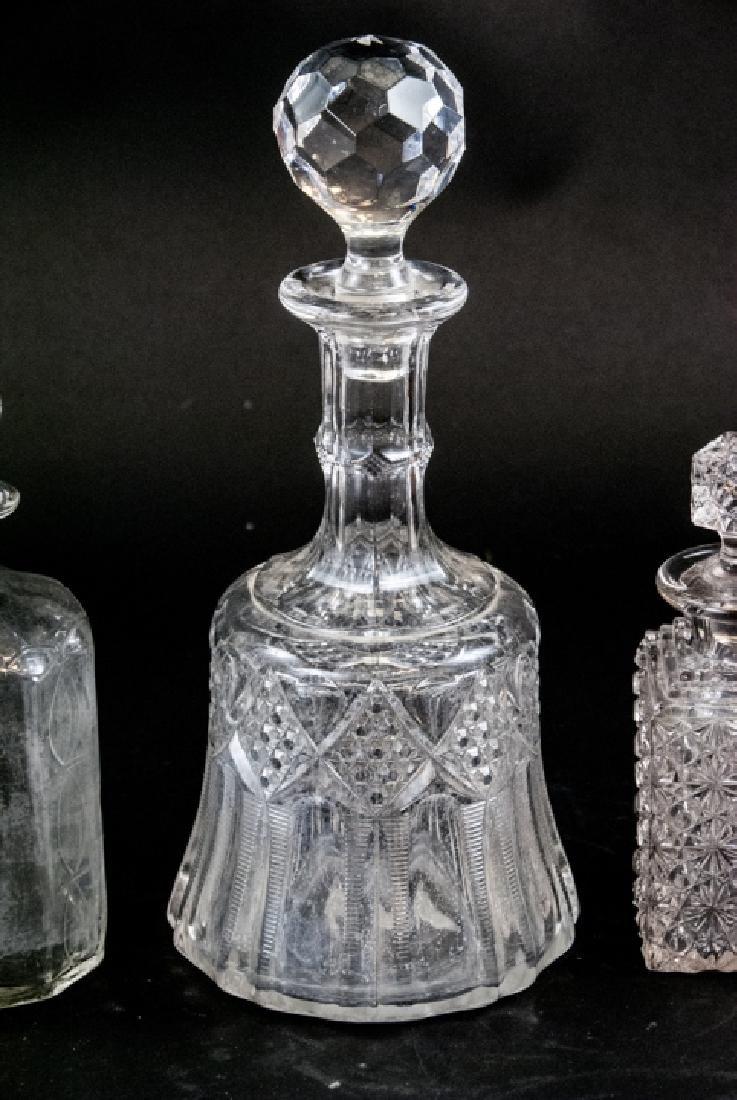 3 Antique Brilliant Period Glass Decanters - 4