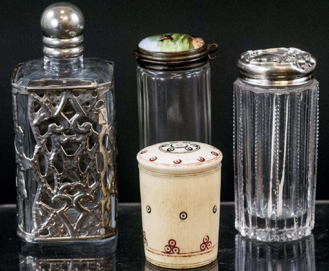 Ant. Silver, Plate, Enamel, Bone Glass Vanity Jars