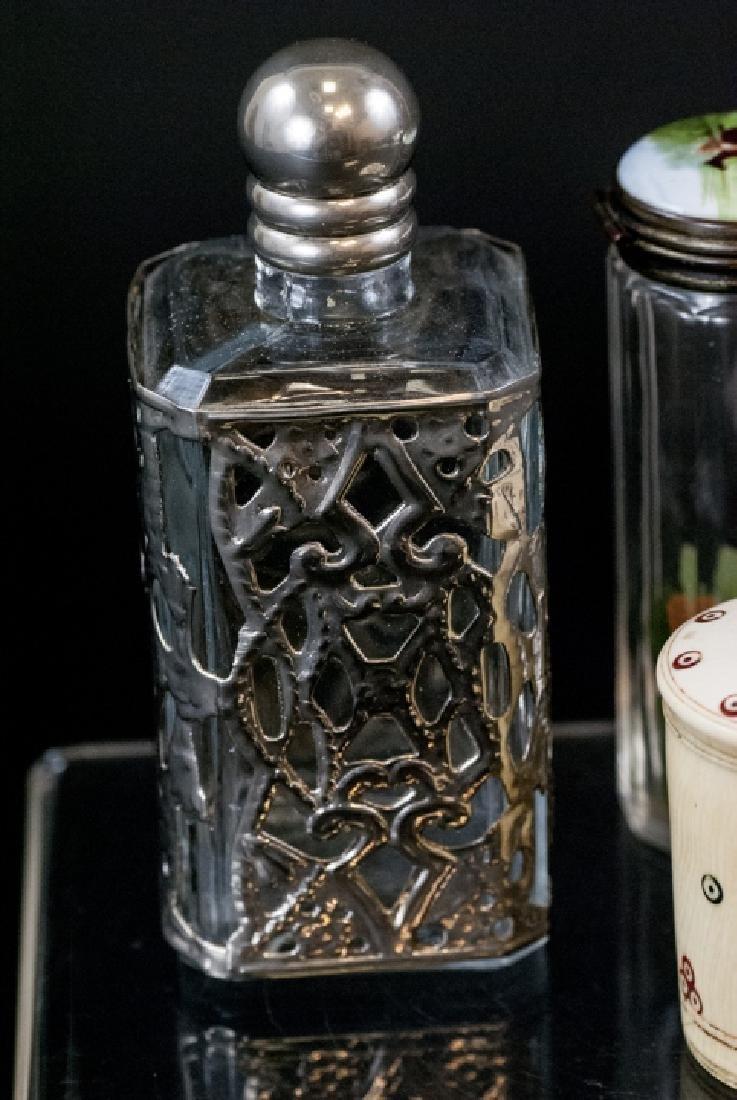 Ant. Silver, Plate, Enamel, Bone Glass Vanity Jars - 2