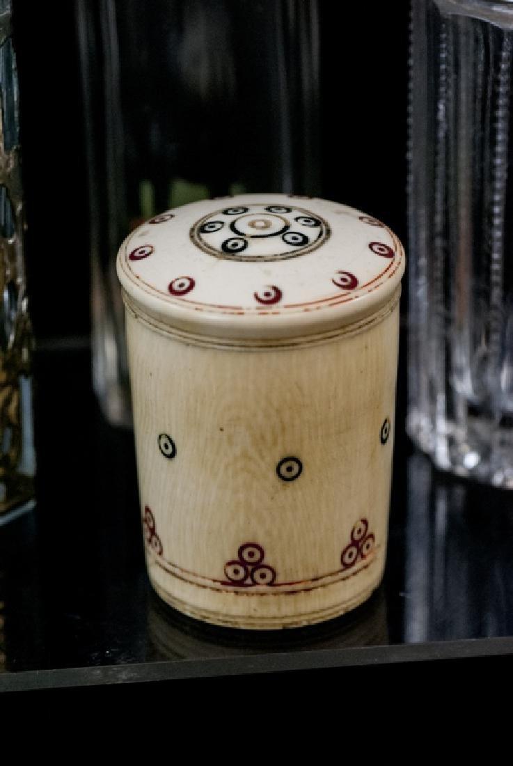 Ant. Silver, Plate, Enamel, Bone Glass Vanity Jars - 3