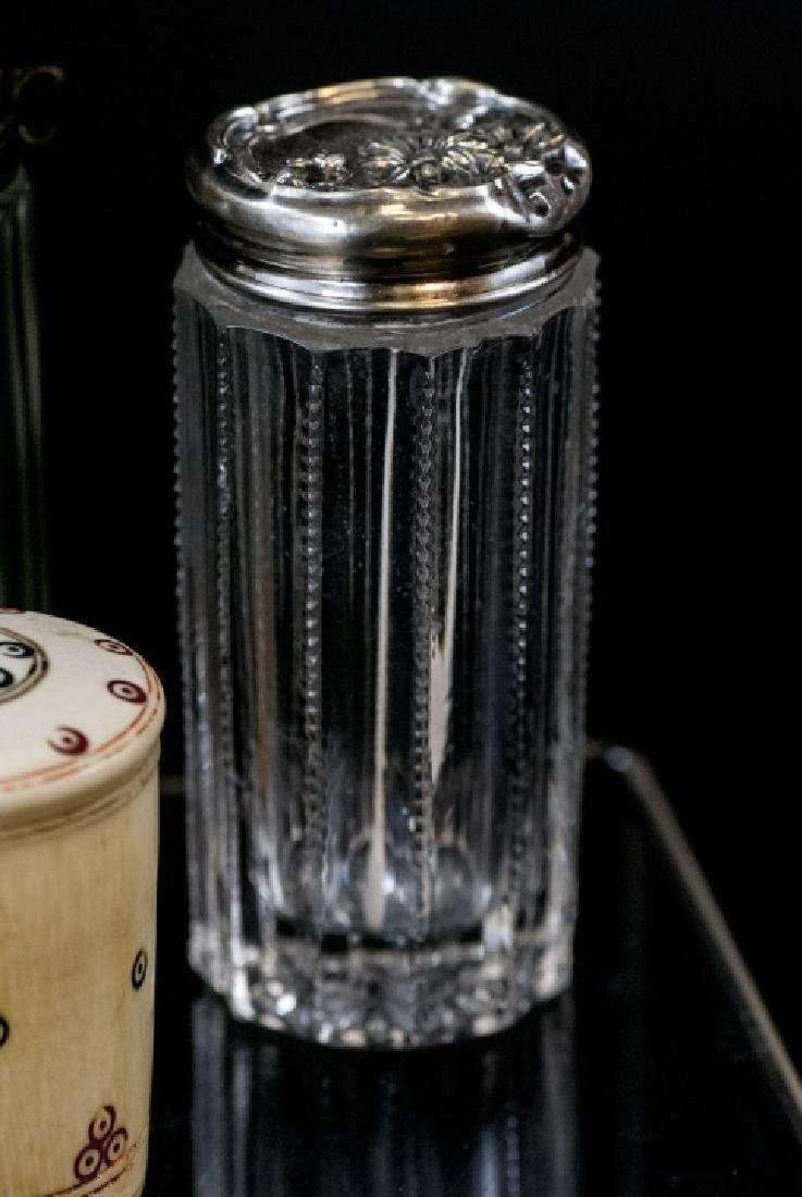 Ant. Silver, Plate, Enamel, Bone Glass Vanity Jars - 4