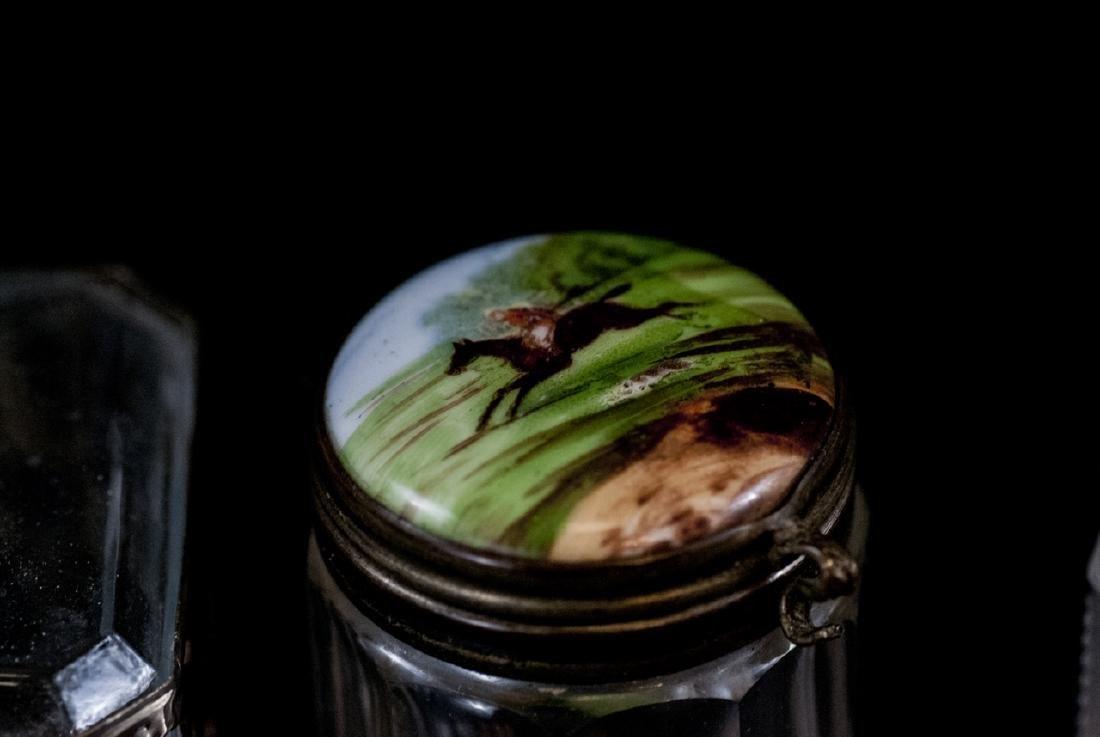 Ant. Silver, Plate, Enamel, Bone Glass Vanity Jars - 5