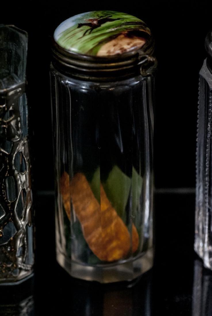 Ant. Silver, Plate, Enamel, Bone Glass Vanity Jars - 6