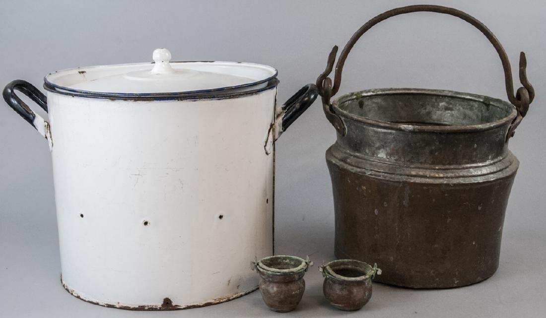 Ant. Enamelware Bread Tin & Copper Fireplace Pots