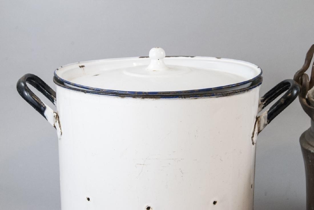 Ant. Enamelware Bread Tin & Copper Fireplace Pots - 2
