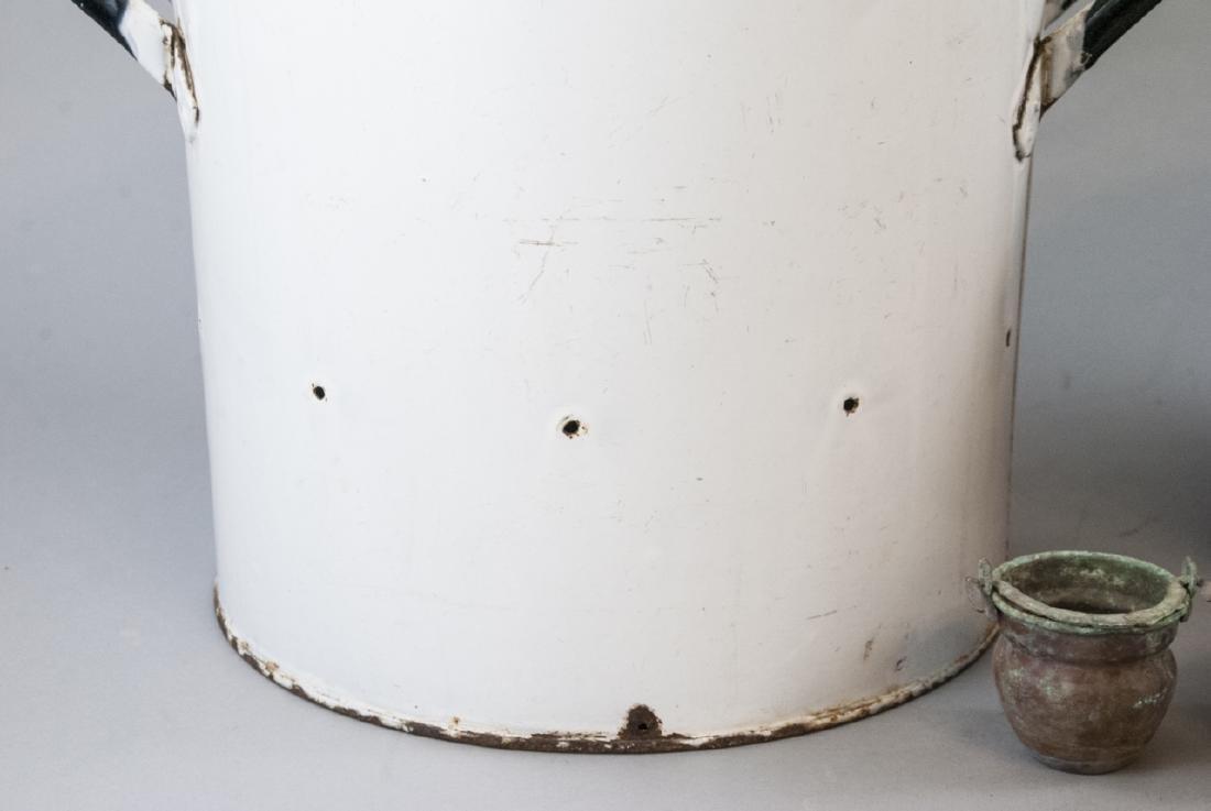 Ant. Enamelware Bread Tin & Copper Fireplace Pots - 3