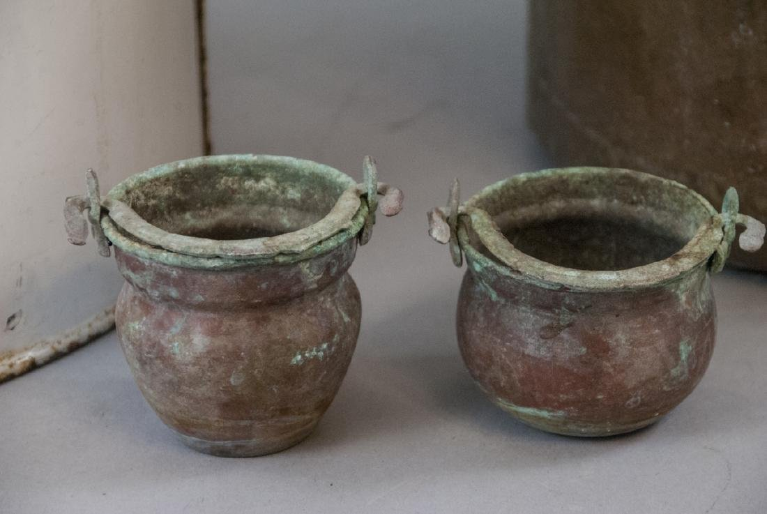 Ant. Enamelware Bread Tin & Copper Fireplace Pots - 4