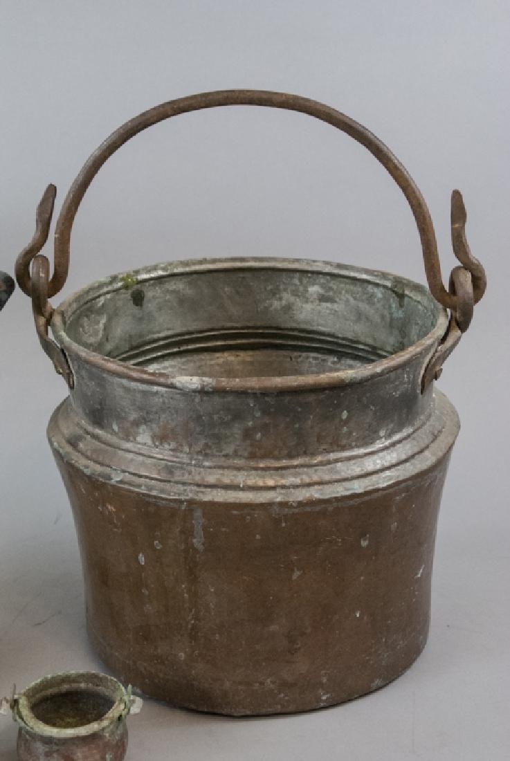 Ant. Enamelware Bread Tin & Copper Fireplace Pots - 5