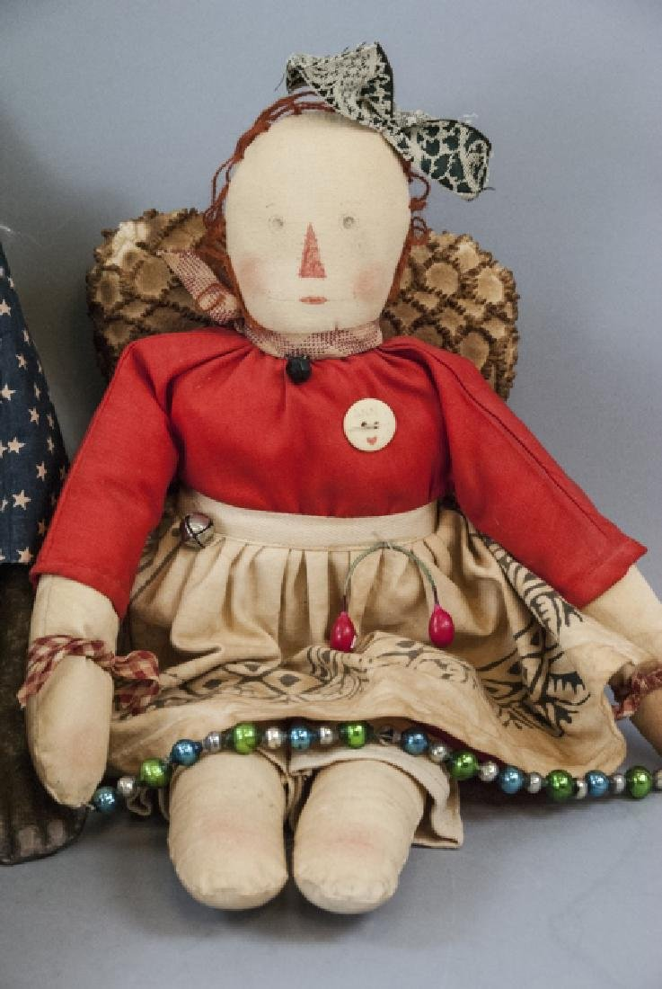 Pair Primitive Hand Made Dolls Americana Themes - 10