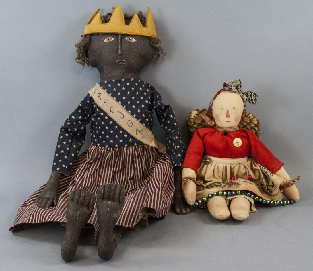 Pair Primitive Hand Made Dolls Americana Themes