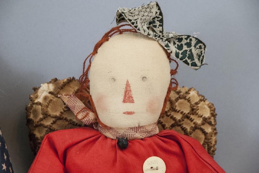 Pair Primitive Hand Made Dolls Americana Themes - 2
