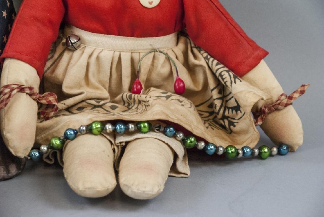 Pair Primitive Hand Made Dolls Americana Themes - 3