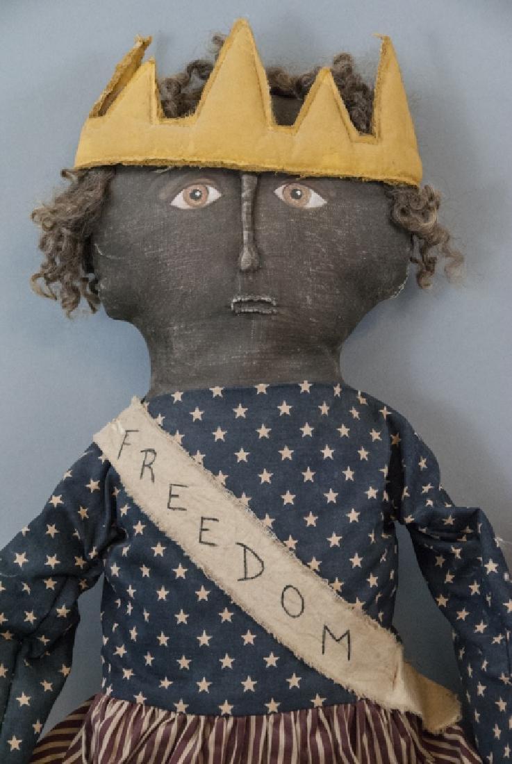 Pair Primitive Hand Made Dolls Americana Themes - 6