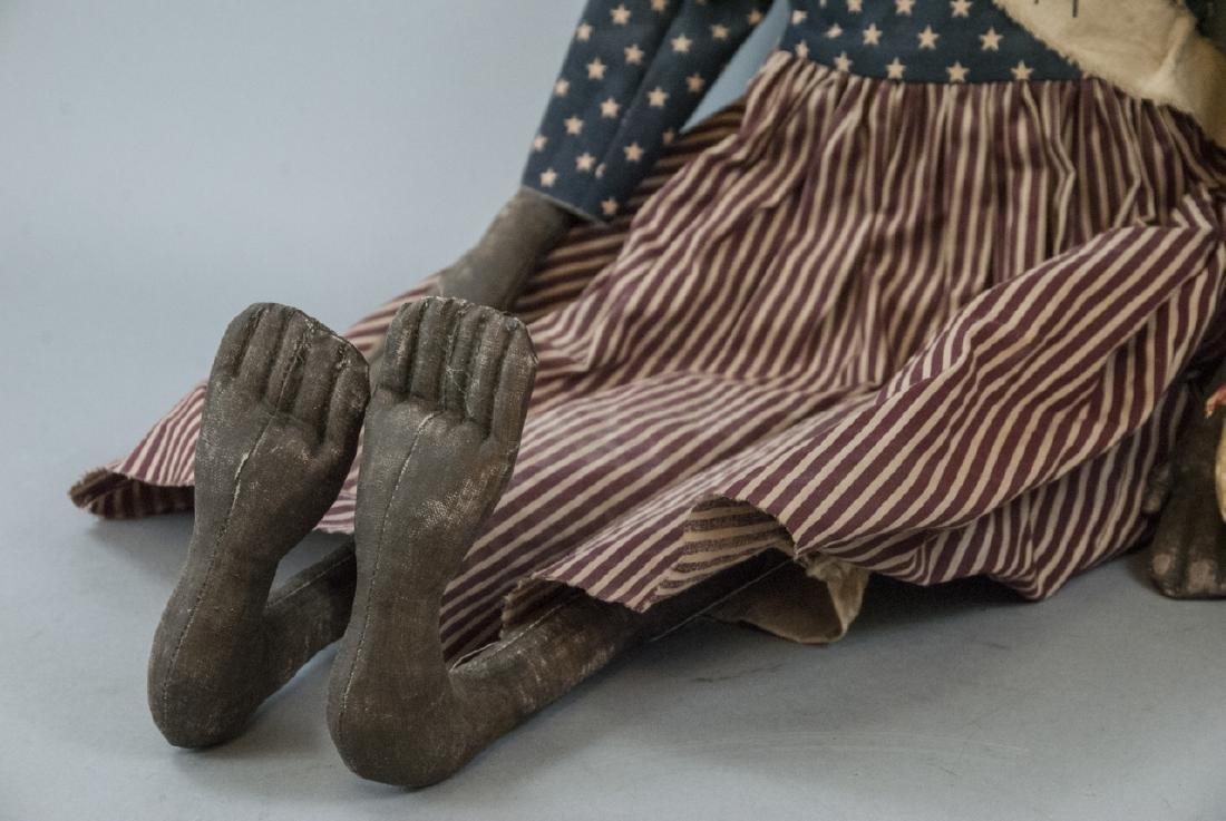 Pair Primitive Hand Made Dolls Americana Themes - 9