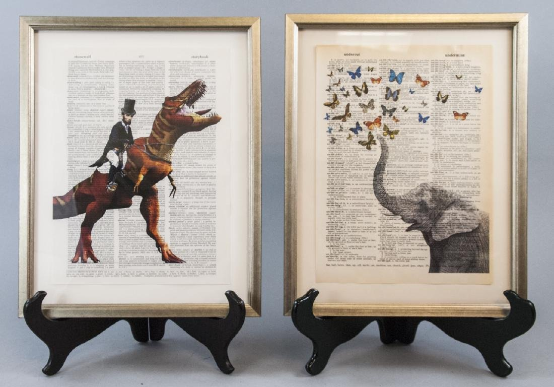 Upcycled Art Print Lincoln & Elephant Book Pages