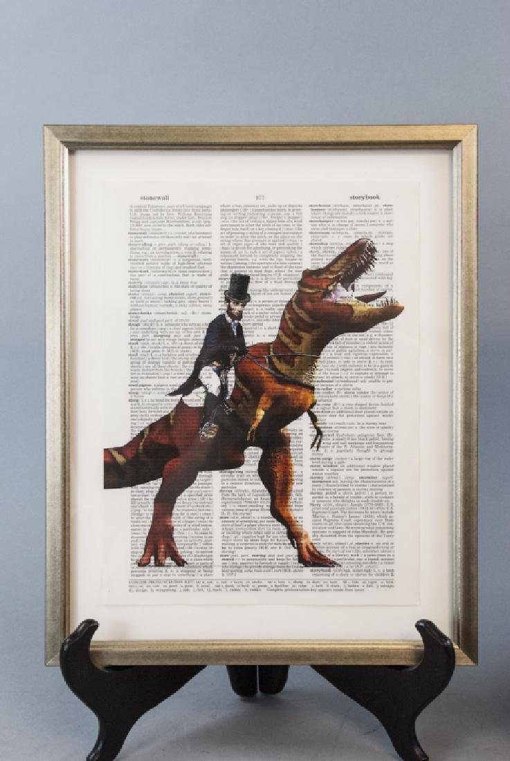 Upcycled Art Print Lincoln & Elephant Book Pages - 3