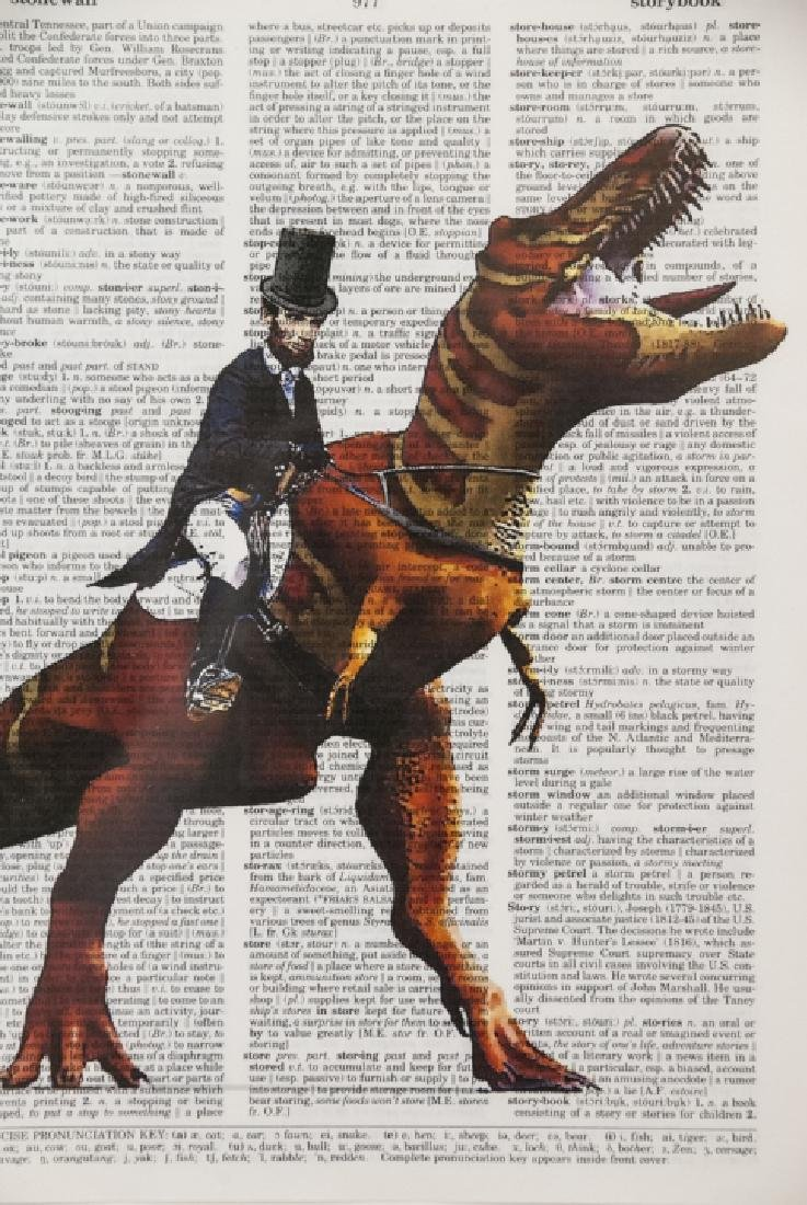 Upcycled Art Print Lincoln & Elephant Book Pages - 4