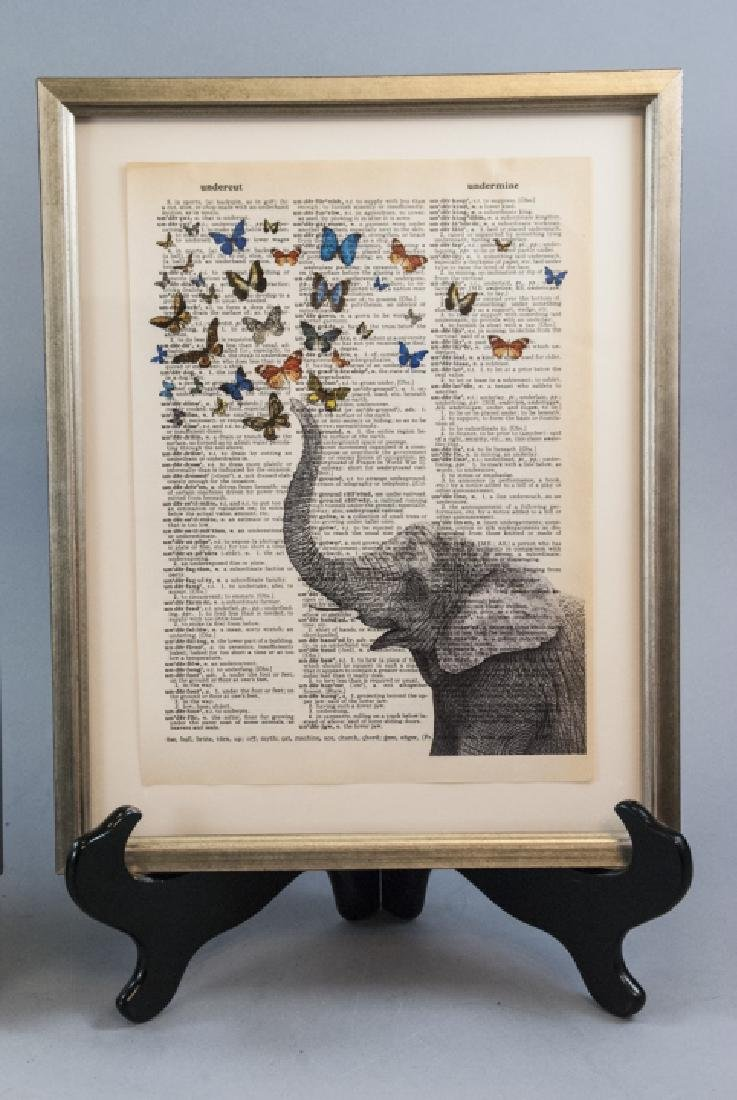 Upcycled Art Print Lincoln & Elephant Book Pages - 5