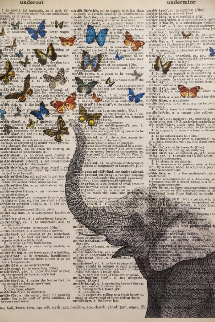 Upcycled Art Print Lincoln & Elephant Book Pages - 6