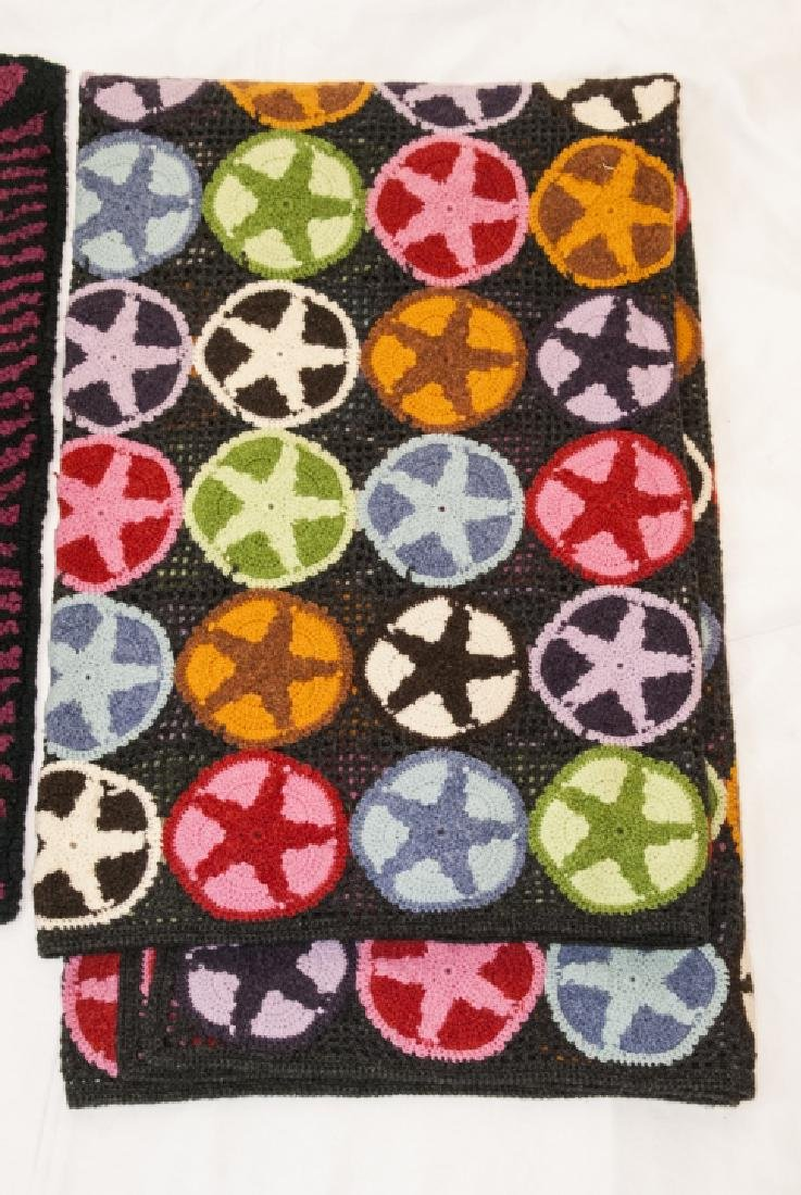 Antique Hooked Rug and Repro Crochet Star Quilt - 5