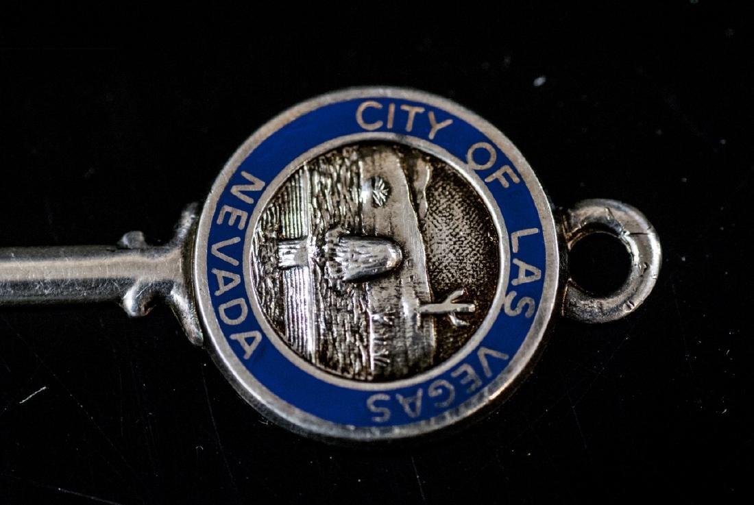 Estate Sterling Silver Las Vegas Key Pendant Charm - 4