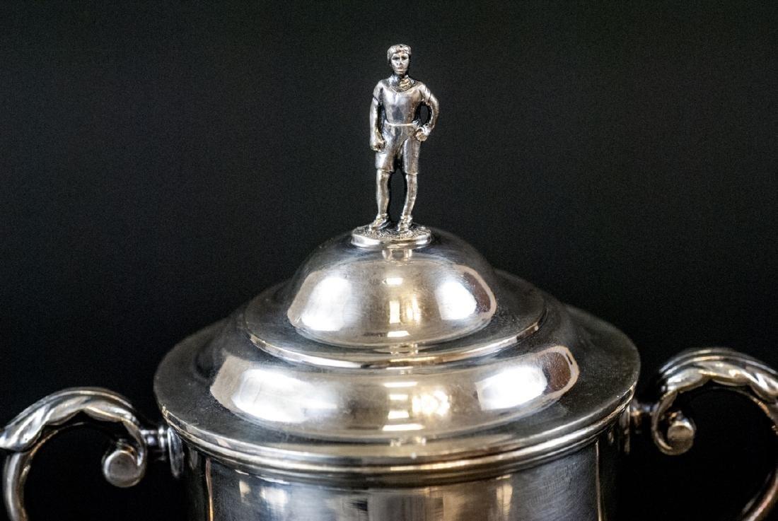 Silver Plate Urn Form Trophy w Figural Finial - 3