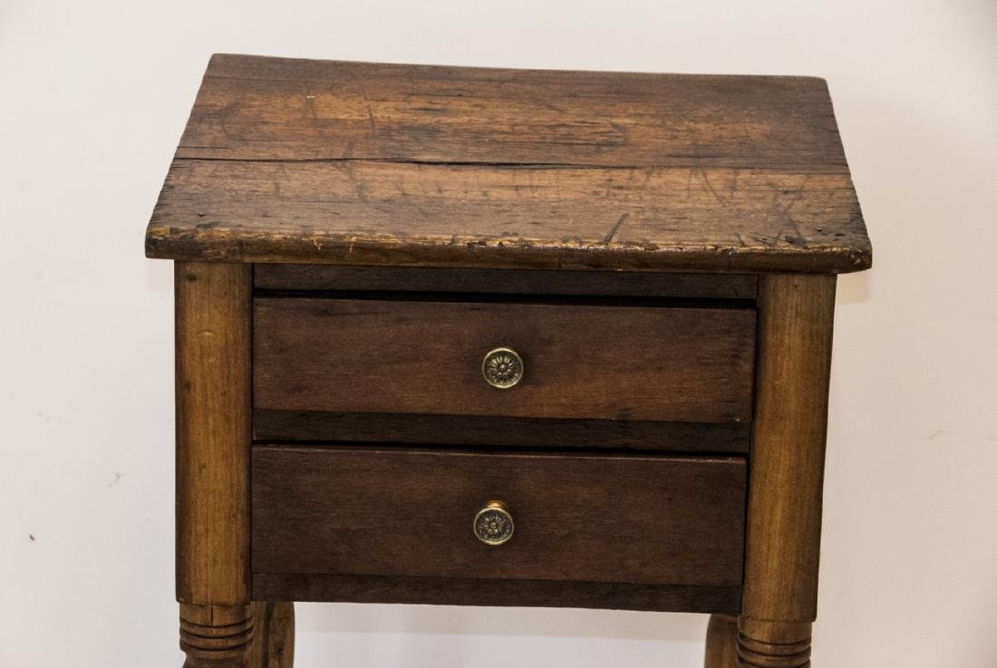 19th Century Ant. Spindle Leg 2 Drawer Side Table - 2