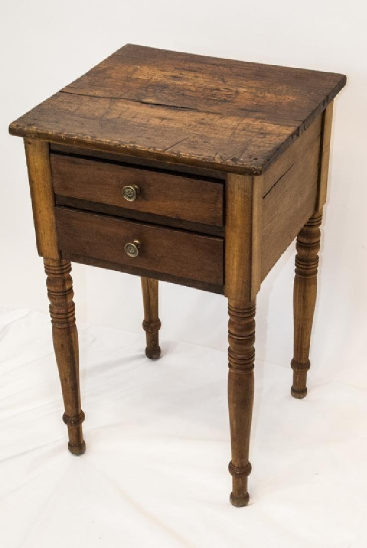 19th Century Ant. Spindle Leg 2 Drawer Side Table - 3