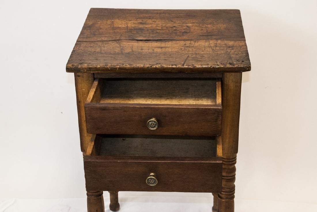 19th Century Ant. Spindle Leg 2 Drawer Side Table - 6