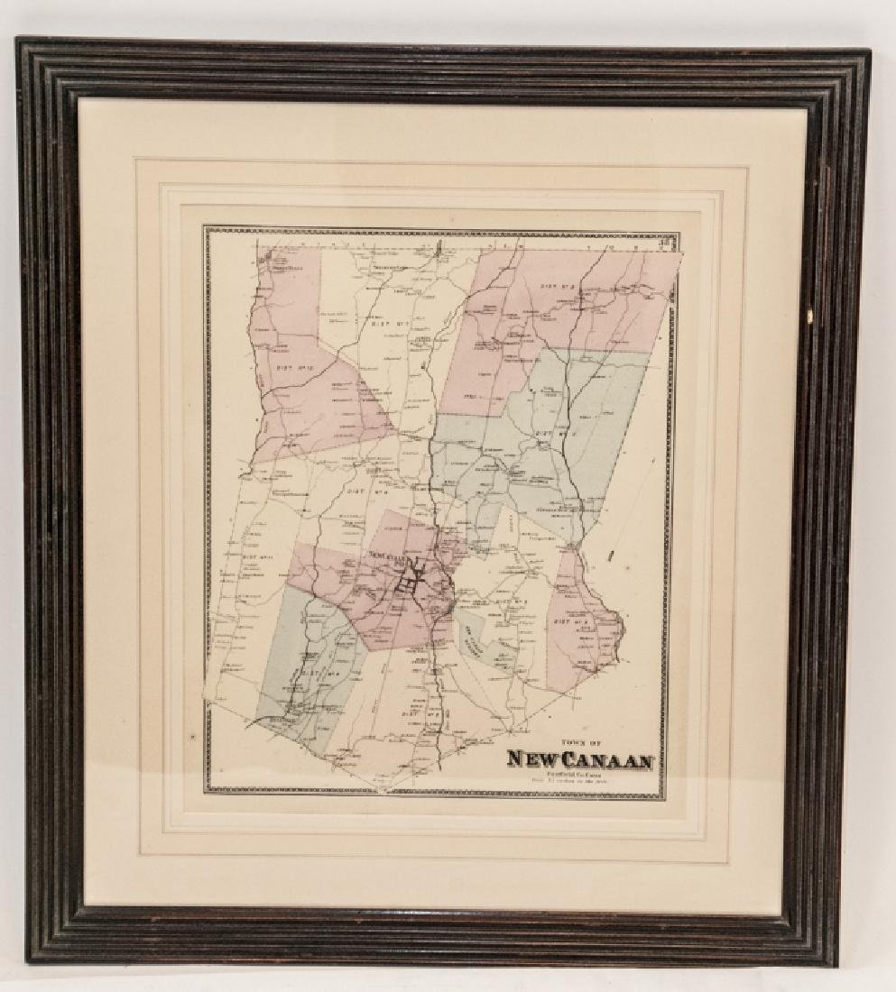 Framed Vintage Color Map New Canaan, Connecticut