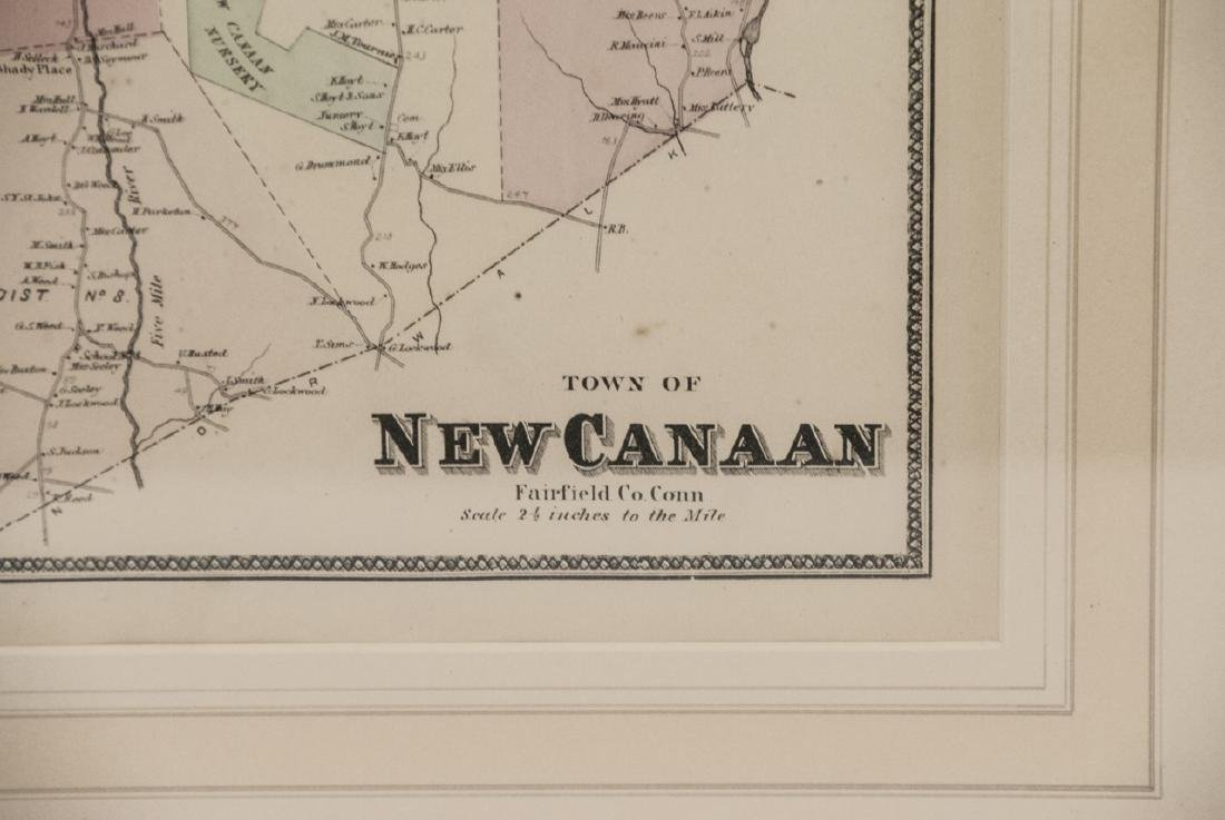 Framed Vintage Color Map New Canaan, Connecticut - 4