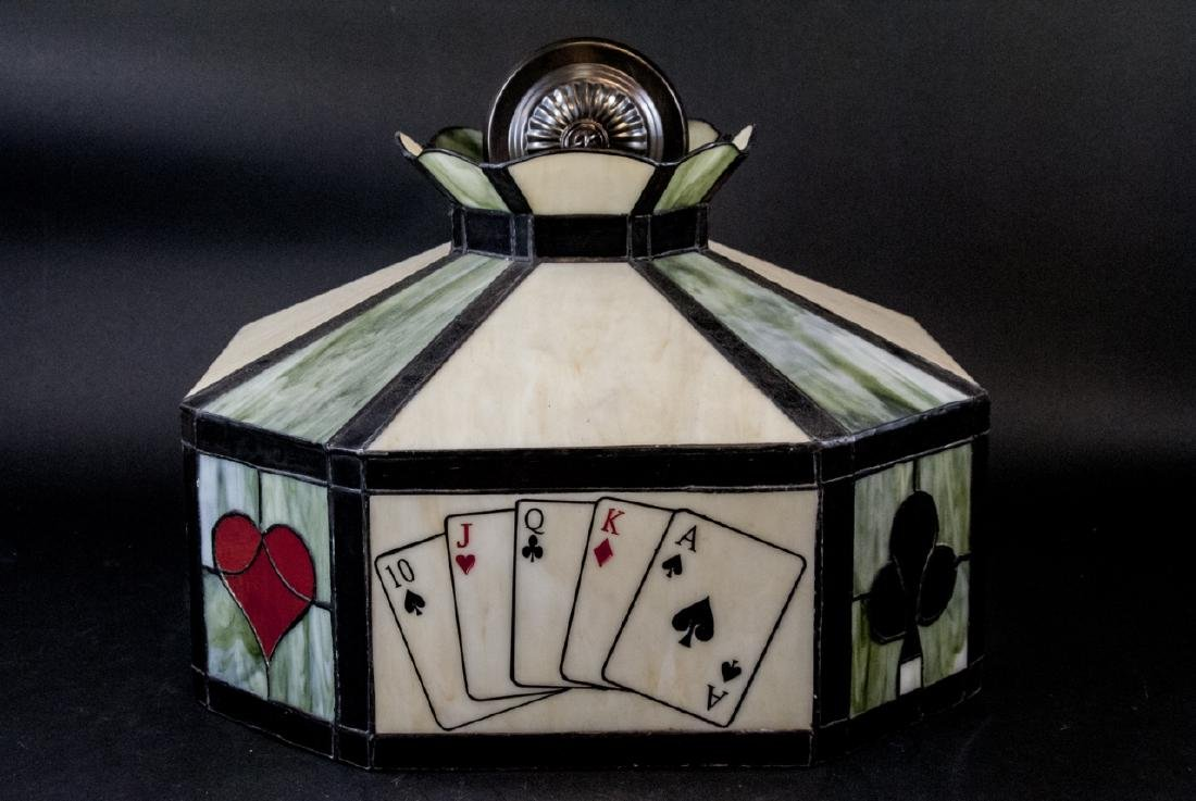Vintage Stained Glass Poker Card Motif Chandelier