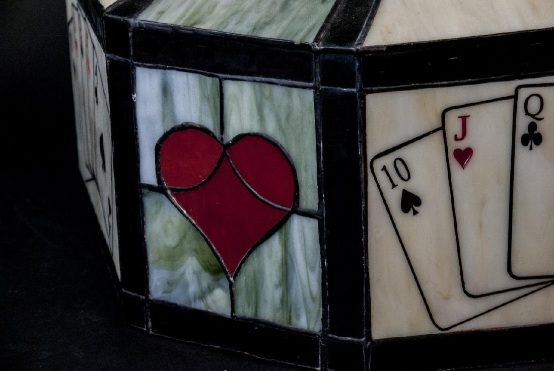 Vintage Stained Glass Poker Card Motif Chandelier - 7