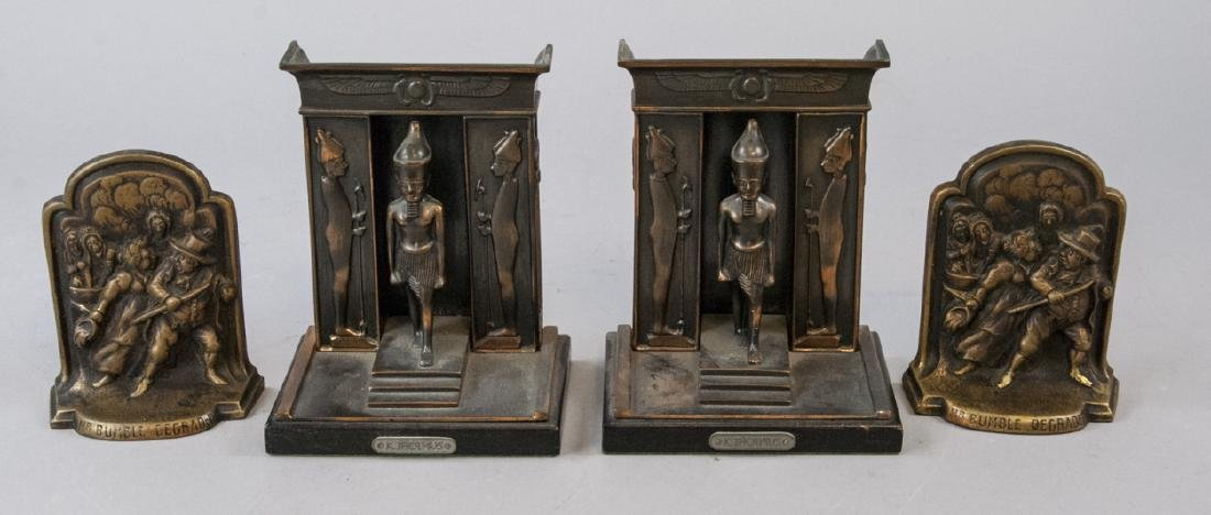 Two Pairs of Bookends - Egyptian & Mr. Bumble