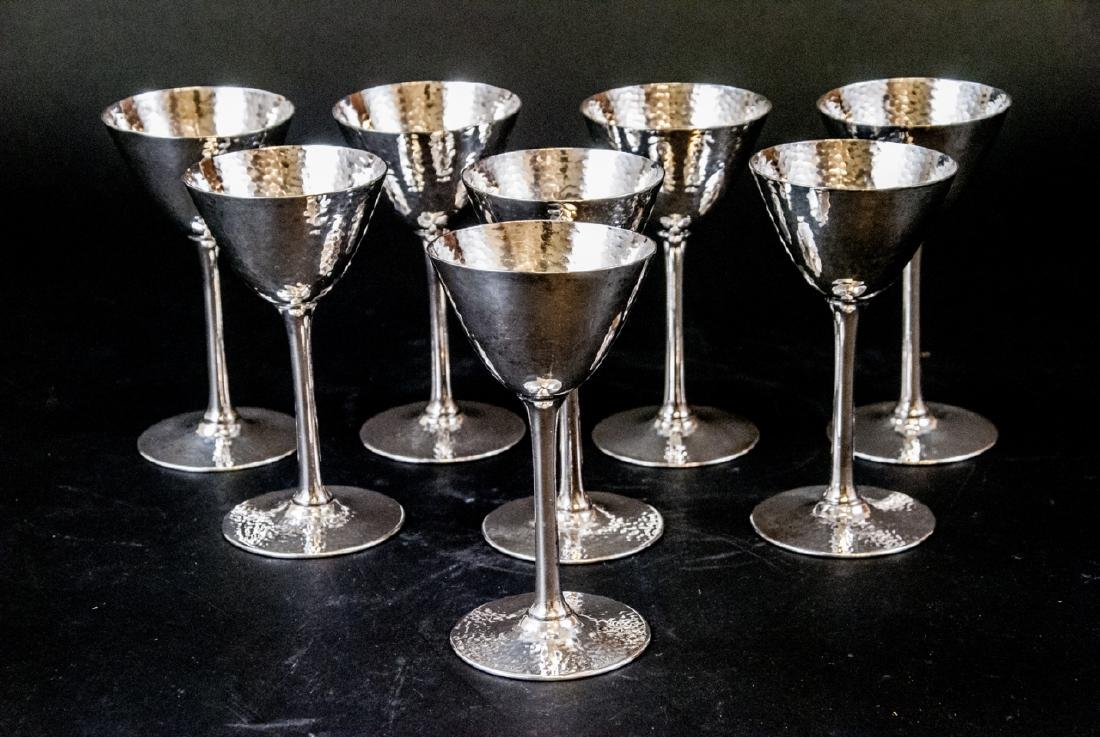 Set of Hammered Finish Silver Plate Martini Stems