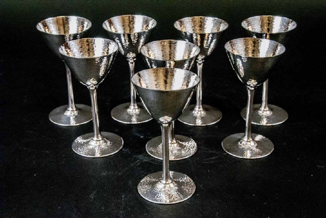 Set of Hammered Finish Silver Plate Martini Stems - 2